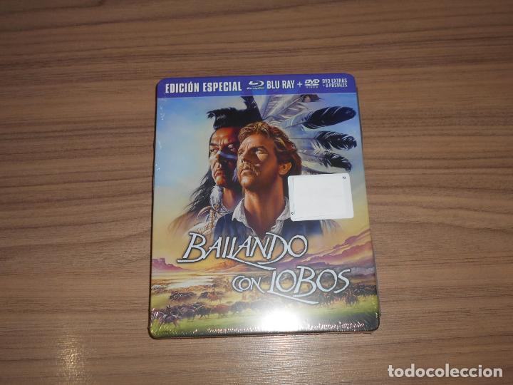 BAILANDO CON LOBOS EDICION LIMITADA NUMERADA METALICA BLU-RAY DISC + DVD + POSTALES NUEVO PRECINTADO (Cine - Películas - Blu-Ray Disc)