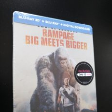 Cine: STEELBOOK RAMPAGE - 3D - DWAYNE JOHNSON - BLU-RAY. Lote 211527041