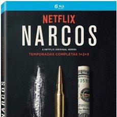 Cine: NARCOS TEMPORADAS 1 + 2 + 3 COMPLETAS 6 BLU-RAY DISC NUEVA PRECINTADA. Lote 295744783
