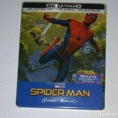 Cine: SPIDER-MAN: HOMECOMING STEELBOOK 4K UHD + BLU-RAY EXTRAS + COMIC PRECINTADO. Lote 236859405
