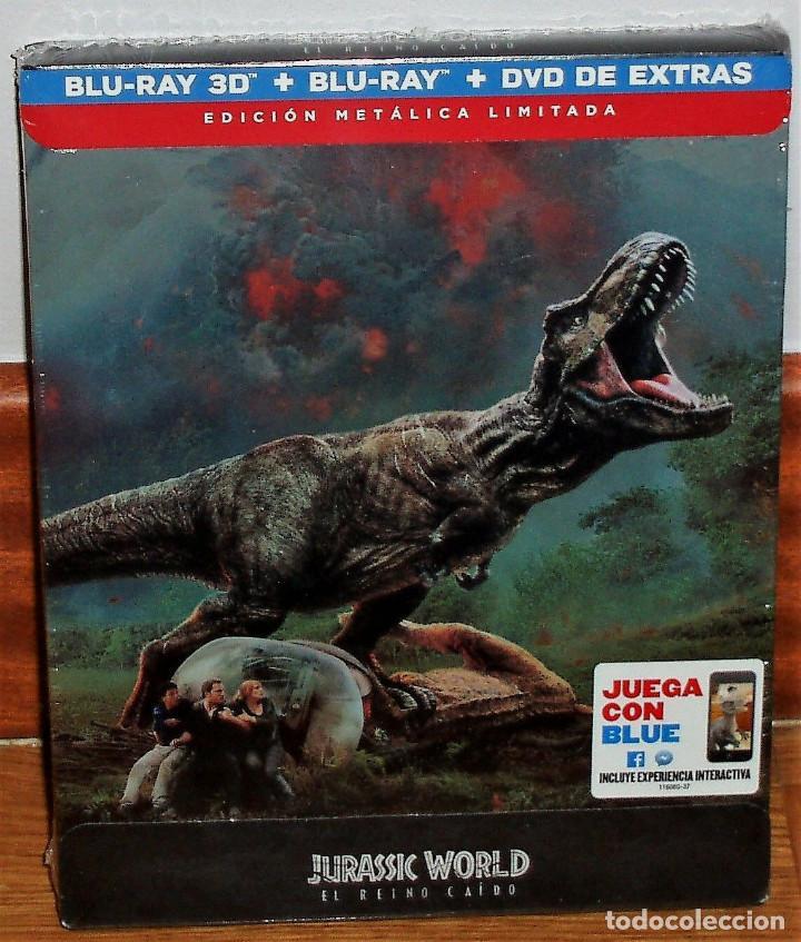 JURASSIC WORLD 2 EL REINO CAIDO STEELBOOK BR 3D+BLU-RAY+DVD NUEVO PRECINTADO (SIN ABRIR) R2 (Cine - Películas - Blu-Ray Disc)