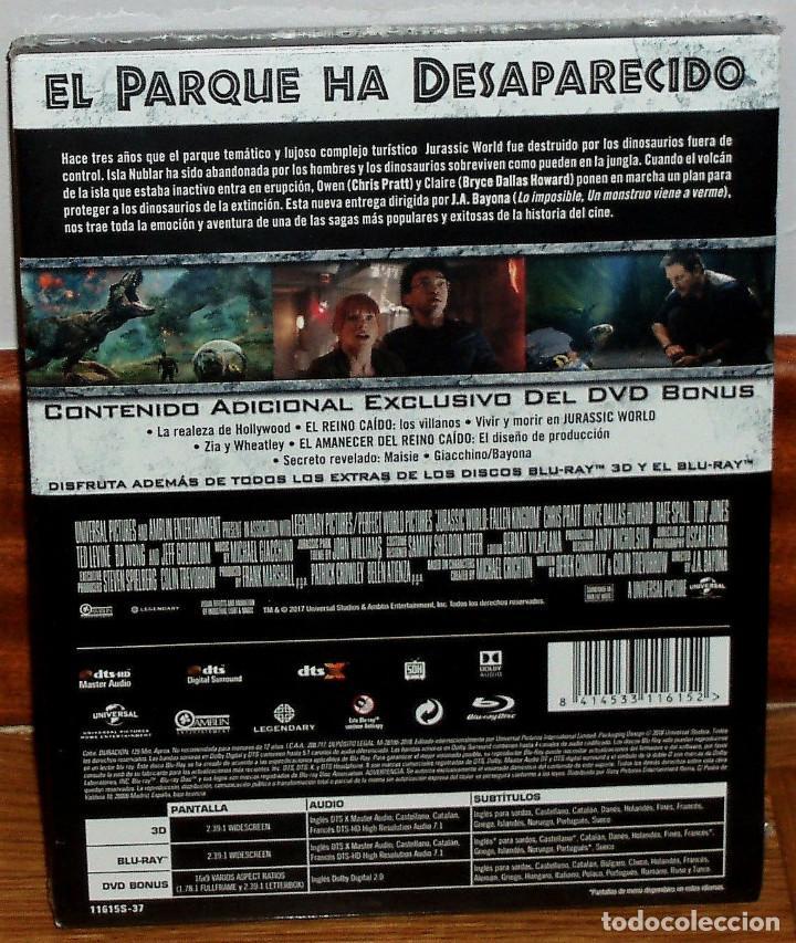 Cine: JURASSIC WORLD 2 EL REINO CAIDO STEELBOOK BR 3D+BLU-RAY+DVD NUEVO PRECINTADO (SIN ABRIR) R2 - Foto 2 - 278236493