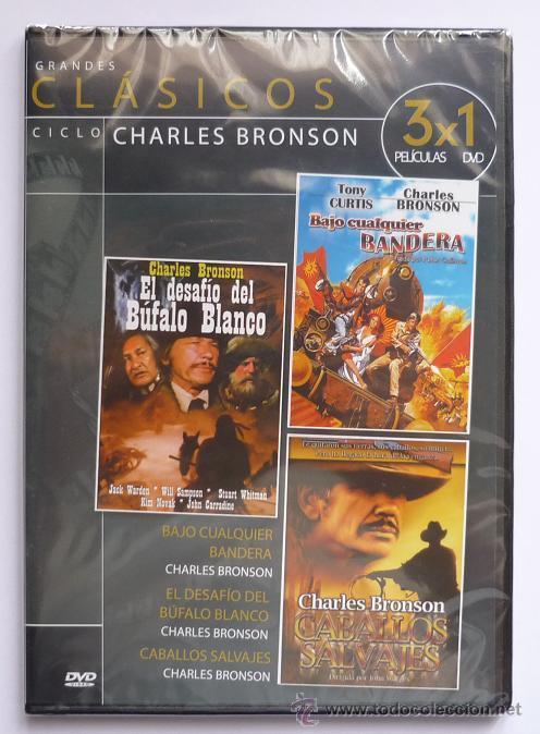 DVD CLASICOS CHARLES BRONSON EL DESAFIO DEL BUFALO BLANCO, BAJO CUALQUIER BANDERA, CABALLOS SALVAJES (Cine - Películas - DVD)