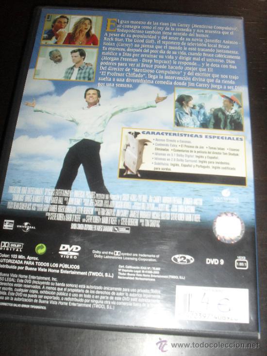 Cine: COMO DIOS. JIM CARREY. DVD. PELICULA. CASTELLANO. - Foto 3 - 31813010