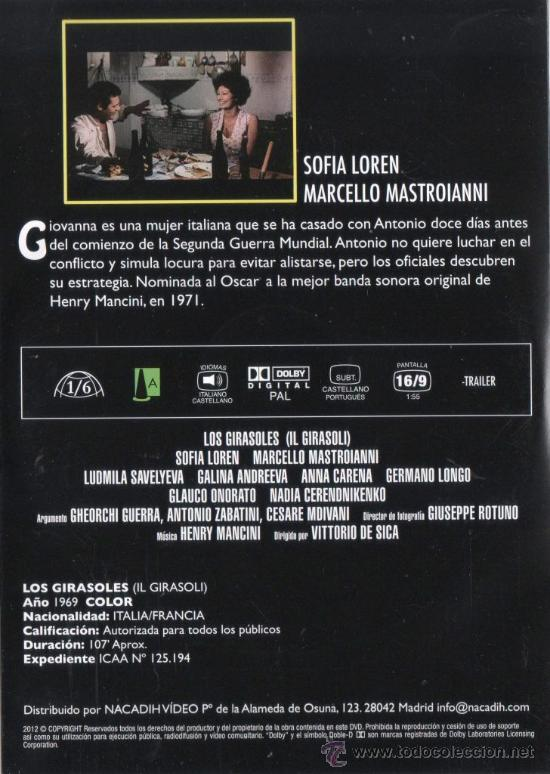 Cine: LOS GIRASOLES (1969) de VITTORIO DE SICA, con SOFIA LOREN, MARCELLO MASTROIANNI (NUEVA) - Foto 2 - 35201255