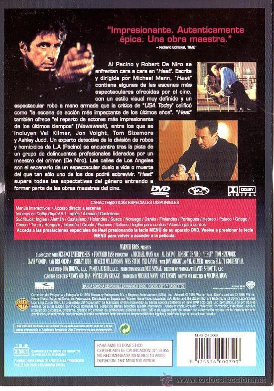 Cine: UXD GRANDES EXITOS DEL CINE - HEAT - DVD ACCION POLICIA INTRIGA AL PACINO NIRO KILMER MANN W0 - Foto 2 - 36310772