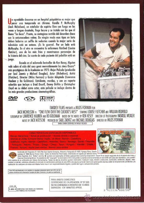 Cine: UXD GRANDES EXITOS DEL CINE - ALGUIEN VOLO SOBRE EL NIDO DEL CUCO DVD DRAMA PSIQIATRICO NICHOLSON - Foto 2 - 36325778