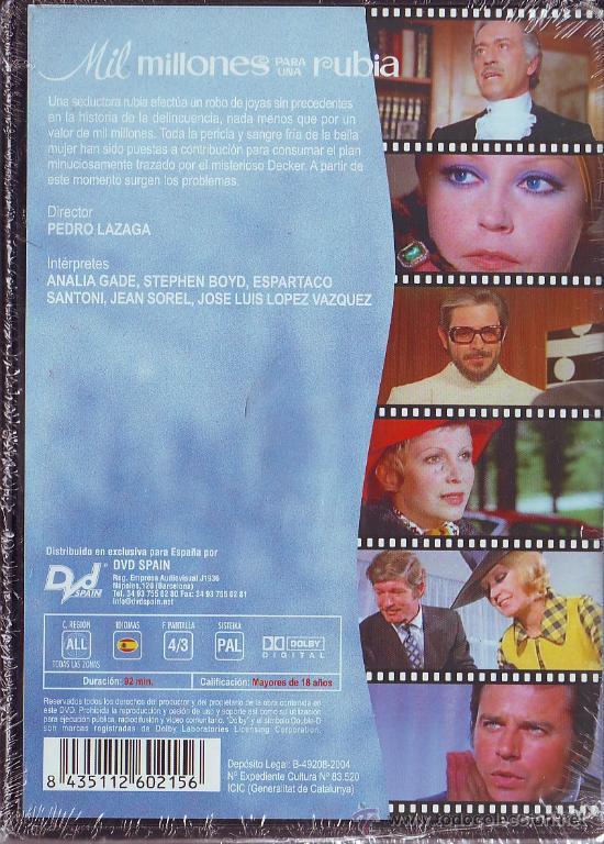 Cine: UXD MIL MILLONES PARA UNA RUBIA DVD CINE ESPAÑOL LAZAGA LOPEZ VAZQUEZ GADE SANTONI SOREL COMEDIA - Foto 2 - 38902935