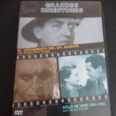 Cine: GRANDES DIRECTORES. FRITZ LANG. DVD CON 2 PELICULAS: EL TESTAMENTO DEL DR. MABUSE - SOLO SE VIVE UNA. Lote 45798280