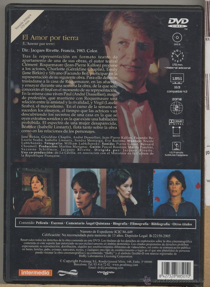 Cine: EL AMOR POR TIERRA DVD (J. RIVETTE): ensayos de un drama teatral...que se convierte en realidad. - Foto 2 - 53262832