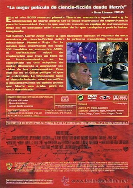 Cine: DVD PLANETA ROJO VAL KILMER - Foto 2 - 47463443