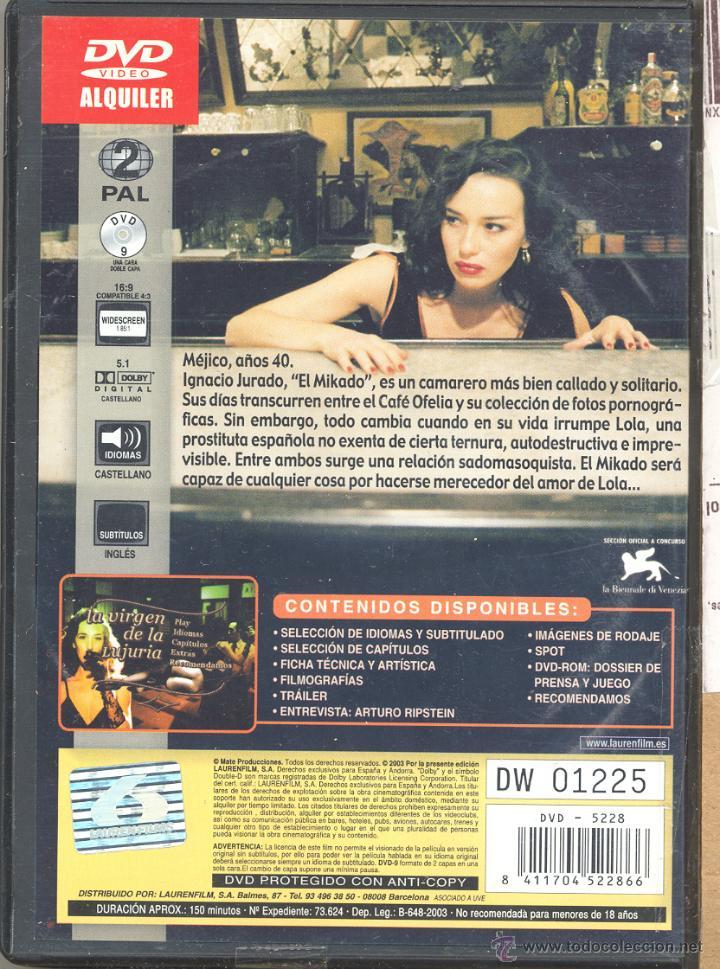 Cine: La virgen de la Lujuria DVD:(Arturo Ripstein) DESCATALOGADISIMA y ...sórdida... Una joya - Foto 2 - 190895510