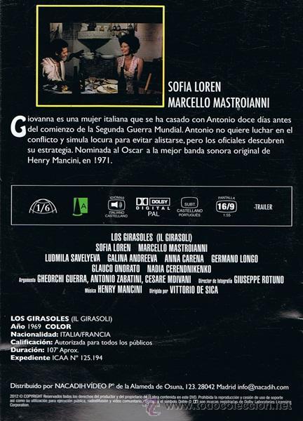 Cine: DVD LOS GIRASOLES SOFIA LOREN - MARCELLO MASTROIANNI - Foto 2 - 53177530