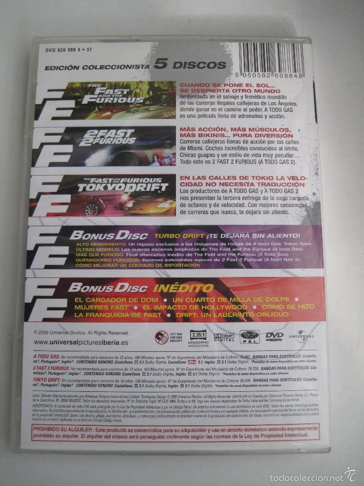 Cine Fast And Furious Coleccin 3 Primeras Pelculas 1 DVD Extras O