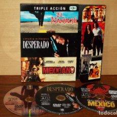 Cine: EL MARIACHI / DESPERADO / EL MEXICANO - TRIPLE DVD CAJA DE CARTON. Lote 66328181