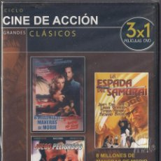 Cine: CINE DE ACCION: 8 MILLONES DE MANERAS DE MORIR. JUEGO PELIGROSO. LA ESPADA DEL SAMURAI. PRECINTADO.. Lote 69508293