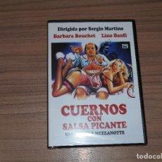 Cine: CUERNOS CON SALSA PICANTE DVD BARBARA BOUCHET LINO BANFI NUEVA PRECINTADA. Lote 183994611