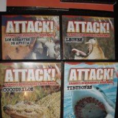 Cine: DVD DOCUMENTAL ANIMALES ATTACK,COCODRILOS ,LEONES ,TIBURONES ,GIGANTES DE AFRICA 4 DVDS. Lote 77303661