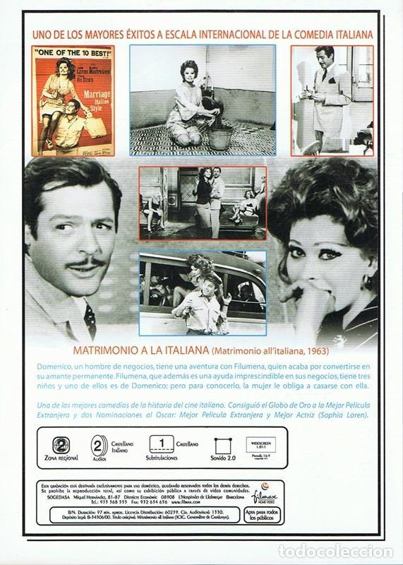 Cine: DVD MATRIMONIO A LA ITALIANA SOPHIA LOREN - Foto 2 - 77322845