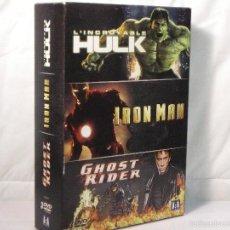 Cine: HULK + IRON MAN + GHOST RIDER *** LOTE 3 DVD EN FRANCÉS *** CINE DE ACCION. Lote 195357803