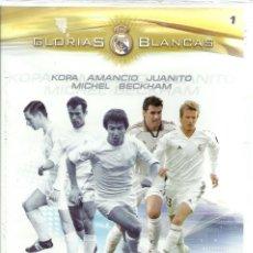 Cine: DVD REAL MADRID GLORIAS BLANCAS - KOPA, AMANCIO, JUANITO, MICHEL, BECKHAM - EL ALA INFERNAL - NUEVO. Lote 93549735