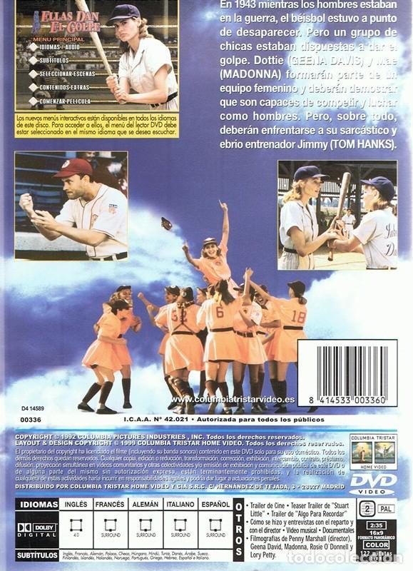 Cine: DVD ELLAS DAN EL GOLPE GEENA DAVIS ,TOM HANKS, MADONNA - Foto 2 - 94023295