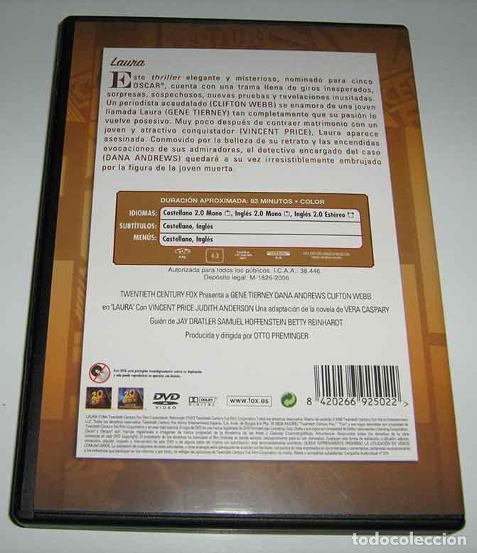 Cine: LAURA - OTTO PREMINGER - GENE TIERNEY Y DANA ANDREWS - DVD - Foto 2 - 99453059