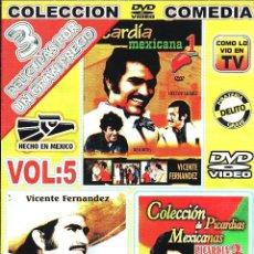 Cine: CINE GOYO - DVD - PICARDIA MEXICANA - LA TRILOGIA - VICENTE FERNANDEZ - RESORTES - RARA- *AA98. Lote 103142555
