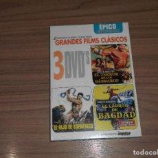Cine: 3 DVD EL TERROR DE LOS BARBAROS - EL LADRON DE BAGDAD - EL HIJO DE ESPARTACO STEVE REEVES PRECINTADA. Lote 126070376