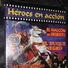 Cine: LAS TRES ESPADAS DEL ZORRO EL DUQUE NEGRO Y EL HALCÓN DEL DESIERTO 3 DVD'S COLECCIÓN HÉROES DE ACCIÓ. Lote 113620762