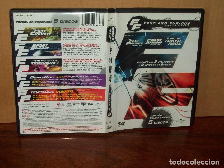 FAST AND FURIOUS COLLECTION EN DVD 3 DVDS DE TRES PELICULAS Y 2 DISCOS EXTRAS COLECCIONISTA