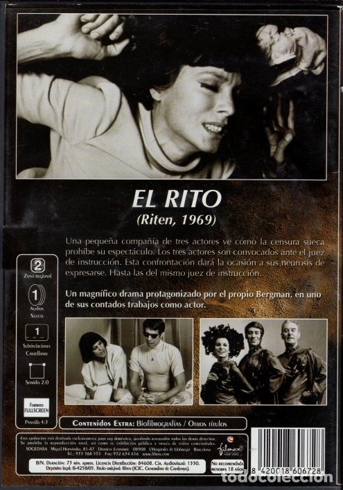 Cine: EL RITO (INGMAR BERGMAN) - EL DRAMA DE TRES ACTORES ANTE LA CENSURA (ACTUANDO EL PROPIO BERGMAN) - Foto 2 - 40313154