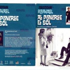 Cine: AL PONERSE EL SOL, CON RAPHAEL. DVD.. Lote 145995093