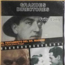 Cine: TODODVD: GRANDES DIRECTORES. FRITZ LANG - EL TESTAMENTO DEL DR. MABUSE / SOLO SE VIVE UNA VEZ. Lote 135855654