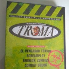 Cine: PACK 4 DVD EDICIÓN 40 ANIVERSARIO TROMA: VENGADOR TÓXICO SCREAMPLAY REDNECK ZOMBIES COMBAT SHOCK. Lote 136526265