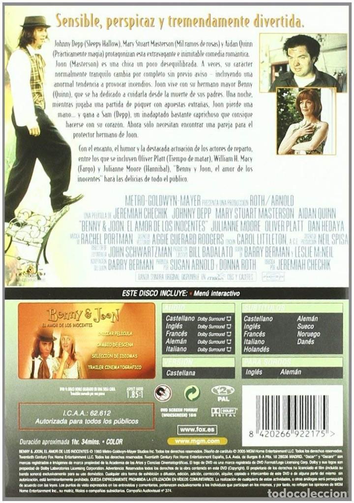 Cine: BENNY & JOON, EL AMOR DE LOS INOCENTES DVD (PRECINTADA). DESCATALOGADA! JOHNNY DEPP, AIDAN QUINN - Foto 2 - 138160714