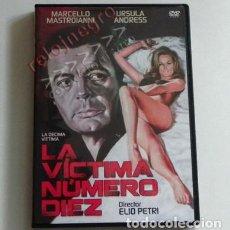 Cine: LA VÍCTIMA NÚMERO 10 - DVD PELÍCULA SUSPENSE MARCELLO MASTROIANNI URSULA ANDRESS C. PONTI PETRI ROMA. Lote 143739070