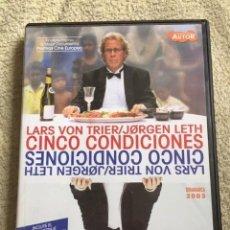 Cine: CINCO CONDICIONES DVD DE LARS VON TRIER Y JORGEN LETH **CINE DE AUTOR DINAMARCA 2003** **JOYA**. Lote 147652886