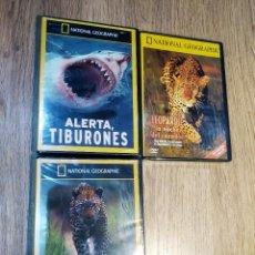 Cine: 3 DVD DOCUMENTALES NATIONAL GEOGRAPHIC (ALERTA TIBURONES, LEOPARDOS AL ACECHO Y LEOPARDO...). Lote 148136650