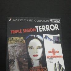 Cine: DVD TERROR PRECINTADO TRIPLE EL CEREBRO DE FRANKENSTEIN, LA MARCA DEL VAMPIRO Y LA CAMARA HORRORES. Lote 149756121