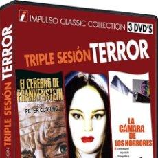 Cine: TRIPLE SESION TERROR 1 : EL CEREBRO DE FRANKENSTEIN / LA MARCA DEL VAMPIRO / LA CAMARA DE LOS HORROR. Lote 150896484