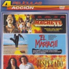 Cine: PACK ACCION: MACHETE / EL MARIACHI / DESPERADO / EL MEXICANO. Lote 150903221