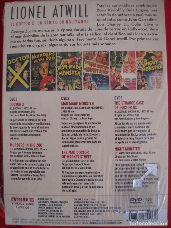 Cine: LIONEL ATWILL BOX--EL DOCTOR X UN SADICO EN HOLLYWOOD --L'ATELIER 13 VINTAGE--LIBRETO-- 3 DVD - Foto 2 - 152675598