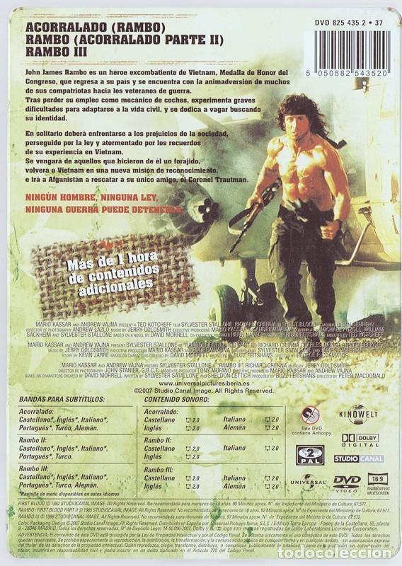 Cine: RAMBO LA TRILOGÍA DEFINITIVA STALLONE ( ESTUCHE METÁLICO 3 DISCOS) - Foto 2 - 156733466