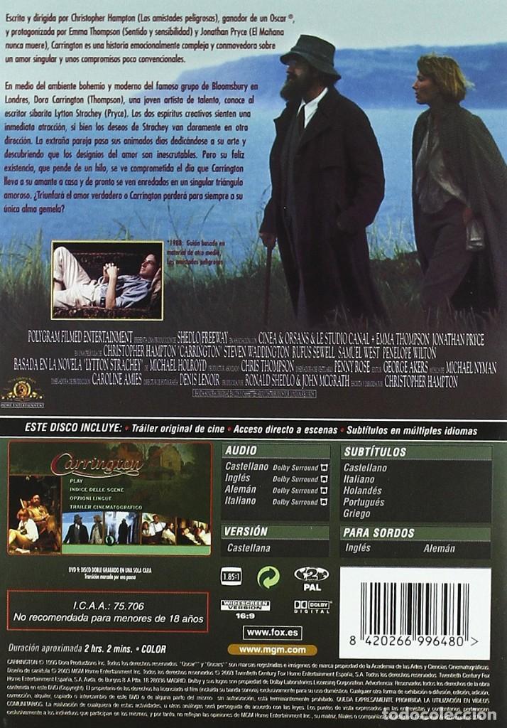 Cine: CARRINGTON DVD (PRECINTADO). DIFÍCIL DE ENCONTRAR!!. EMMA THOMPSON Y JONATHAN PRYCE - Foto 2 - 157824782