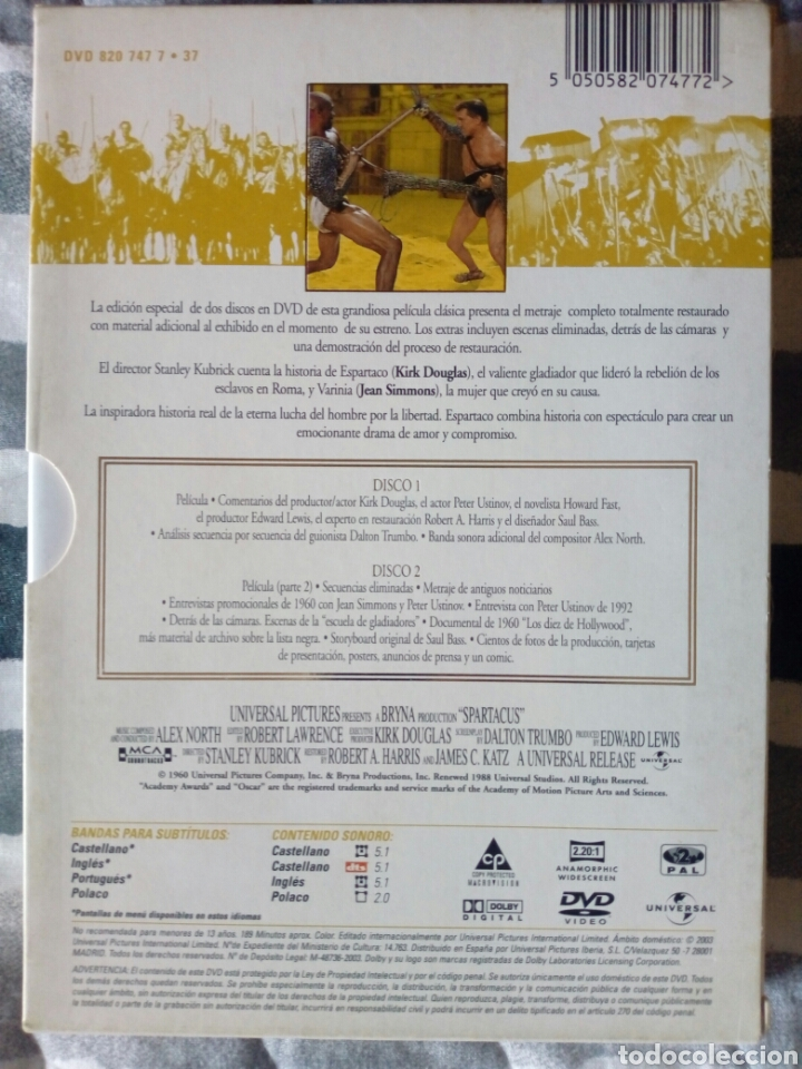 Cine: Espartaco - Edición especial 2 DVDs - Foto 4 - 165536118