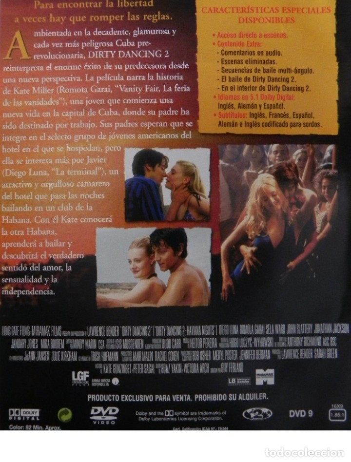Cine: DIRTY DANCING 2 DVD PELÍCULA HECHO REAL ROMÁNTICA DIEGO LUNA GARAI - PATRICK SWAYZE CUBA BAILE SALSA - Foto 2 - 171092644