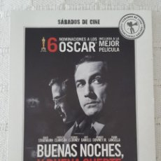 Cine: CINE DVD / BUENAS NOCHES, Y BUENA SUERTE (NUEVA A ESTRENAR, ESTUCHE DE CARTÓN) . Lote 171527182