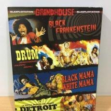 Cine: DVD BLAXPLOITATION GRINDHOUSE - BLACK MAMA WHITE MAMA - BLACK FRANKENSTEIN - DRUM - DETROIT 9000. Lote 172833060