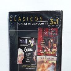 Cine: CLASICOS - CINE DE MEDIANOCHE II, 3 PELICULAS - DVD PRECINTADO. Lote 177657788